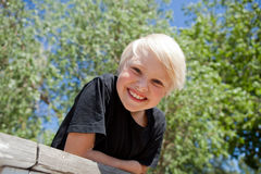 Boy outdoors Stock Image