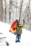 Boy outdoors in the snow Stock Images