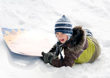 Boy outdoors in the snow Royalty Free Stock Photography