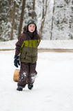 Boy outdoors in winter Royalty Free Stock Image