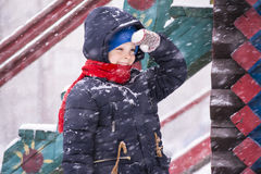 Boy outdoors in the winter Royalty Free Stock Images