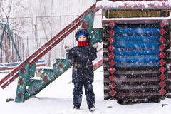 Boy outdoors in the winter Royalty Free Stock Photo