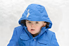 Boy Outside on a Snowy Day Stock Photo