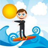 Boy over surfboard Royalty Free Stock Images