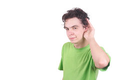 The boy overhears. On a white background stock image