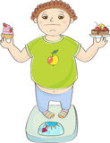 Boy with overweight standing on the scales with a cakes in hands Royalty Free Stock Photo