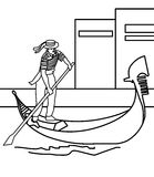 Boy paddling a boat coloring page Royalty Free Stock Photo