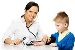 Boy at paediatrician office Stock Photo