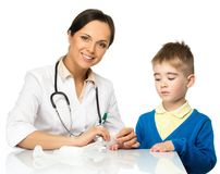 Boy at paediatrician office Royalty Free Stock Photos