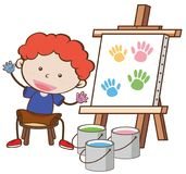 A Boy with Paining Board stock illustration