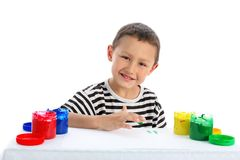 Boy with paint Stock Photography