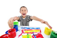 Boy with paint Stock Images