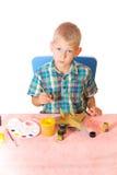Boy paint airplane model Royalty Free Stock Photo