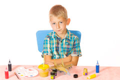 Boy paint airplane model Royalty Free Stock Photography