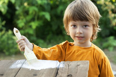 boy with paint brush Royalty Free Stock Photos