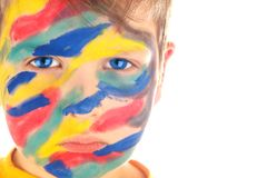 Boy paint portrait Stock Images