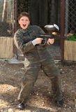 Boy with paintball gun royalty free stock photography