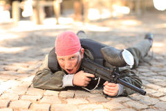 Boy with paintball gun Royalty Free Stock Image