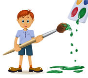Boy and paintbrush Stock Photography