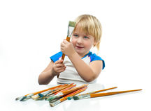 Boy with paintbrush Stock Photo
