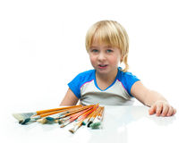Boy with paintbrush Royalty Free Stock Images