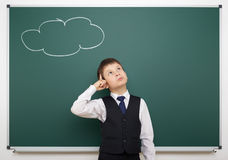 Boy with painted cloud having idea Stock Image