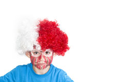 Boy with painted face. Sport supporter royalty free stock photo