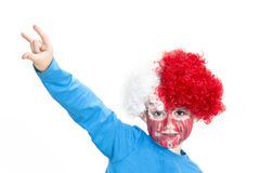 Boy with painted face. Sport supporter royalty free stock photos