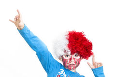 Boy with painted face. Sport supporter royalty free stock image
