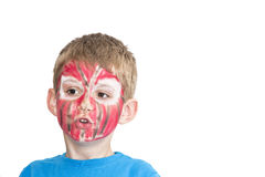 Boy with painted face. Sport supporter royalty free stock images