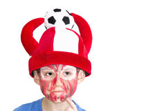 Boy with painted face. Sport supporter stock image
