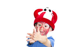Boy with painted face. Sport supporter royalty free stock photography