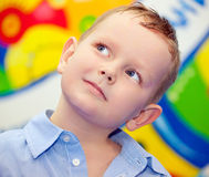 Boy with painted face. On holiday royalty free stock image