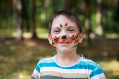 Boy with Painted Face Stock Images