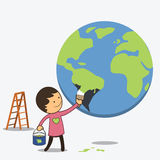 Boy painted globe in green Stock Images