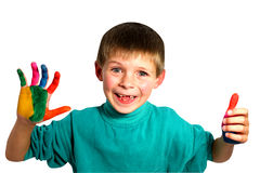 Boy  with painted hands Royalty Free Stock Image