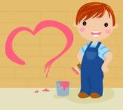 Boy painter. Funny cartoon,illustration Royalty Free Stock Photo