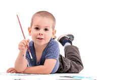 Boy painting Stock Images