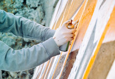 Boy painting graffiti close-up Royalty Free Stock Photos
