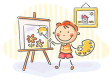 Boy painting a picture Royalty Free Stock Photos