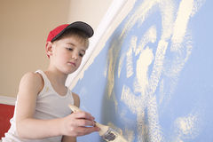 Boy Painting Wall Royalty Free Stock Photo
