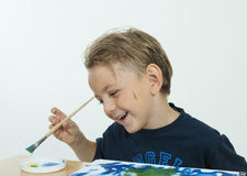 Boy painting Royalty Free Stock Images