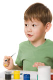 Boy with paints Stock Photo