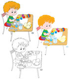 Boy paints Easter eggs. Little boy coloring Easter eggs to the holiday, three versions of the illustration Royalty Free Stock Photos