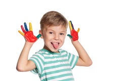 Boy with paints on hands Stock Image