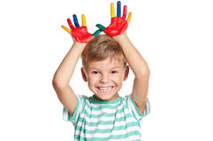 Boy with paints on hands Royalty Free Stock Photos