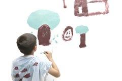 Boy paints picture. Stock Image