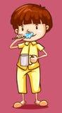 Boy in pajamas brushing teeth. Illustration Royalty Free Stock Photo