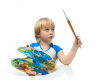 Boy with palette Royalty Free Stock Photography