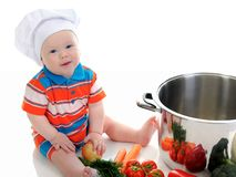 Boy with a pan Stock Images